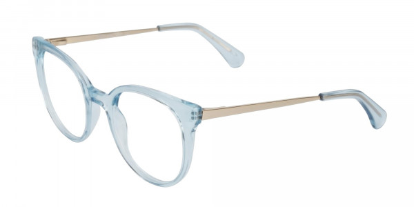 Blue Round Cat-Eye Glasses Gold Temple-3