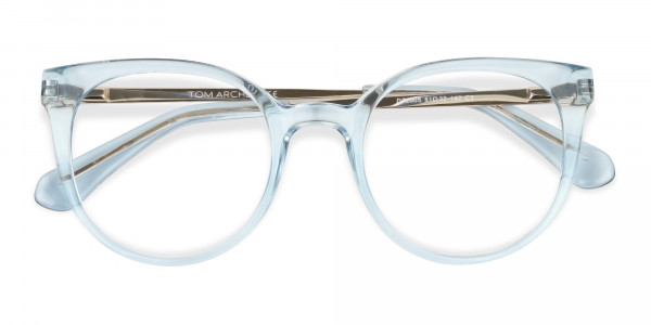Blue Round Cat-Eye Glasses Gold Temple-6