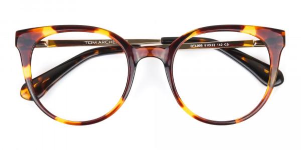 Tortoise Cat-Eye Glasses Gold Temple-6
