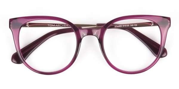 Magenta (Red/Purple) Round Cat-Eye Glasses-6