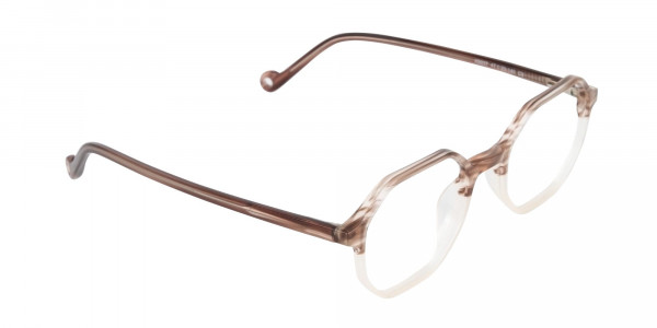 Stripe Brown & Nude Octagonal Glasses-2