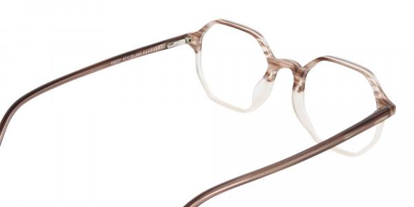 Stripe Brown & Nude Octagonal Glasses-6