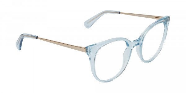 Blue Round Cat-Eye Glasses Gold Temple-2