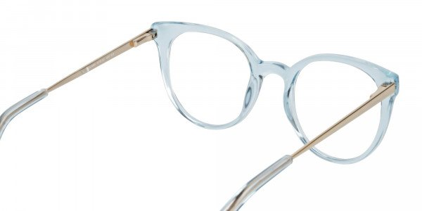 Blue Round Cat-Eye Glasses Gold Temple-5