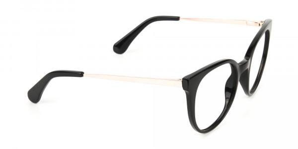 Black Round Cat-Eye Glasses Rose Gold Temple-2