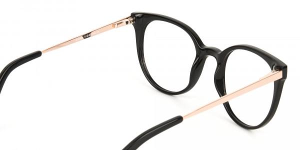 Black Round Cat-Eye Glasses Rose Gold Temple-5