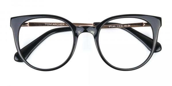 Black Round Cat-Eye Glasses Rose Gold Temple-6