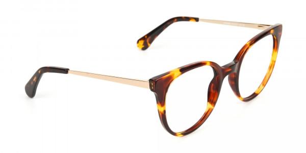 Tortoise Cat-Eye Glasses Gold Temple-2