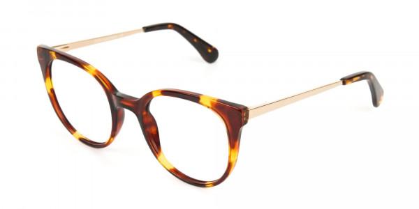 Tortoise Cat-Eye Glasses Gold Temple-3