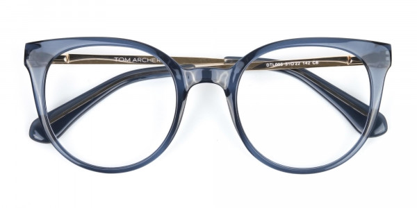 Crystal Grey Round Cat-Eye Glasses-5