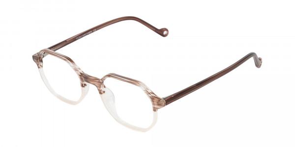 Stripe Brown & Nude Octagonal Glasses-3