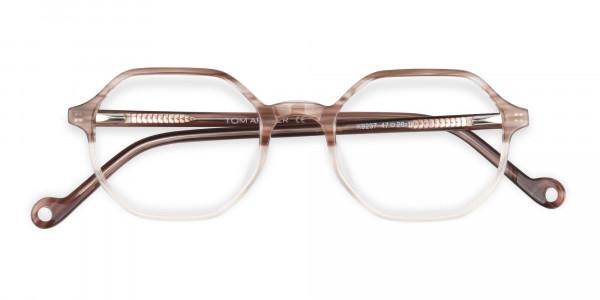 Stripe Brown & Nude Octagonal Glasses-5