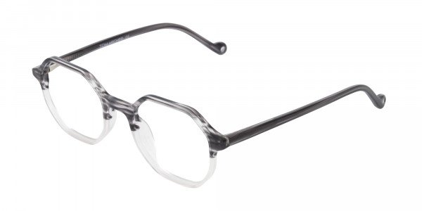 Octagon Glasses in Milky Grey with Stripe-3