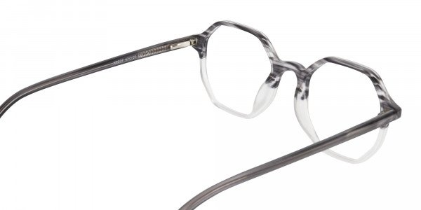 Octagon Glasses in Milky Grey with Stripe-5