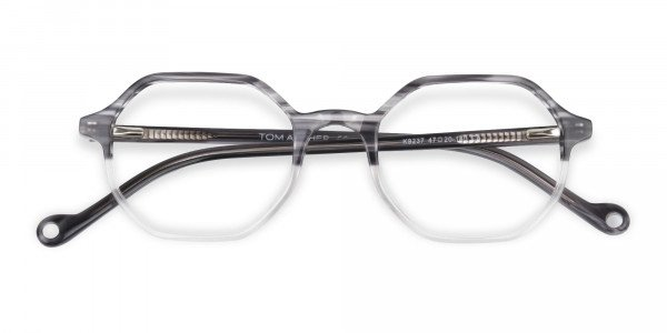Octagon Glasses in Milky Grey with Stripe-6