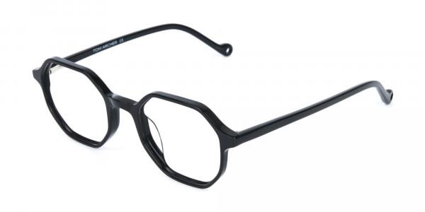 Octagonal Geometric Glasses in Black-3