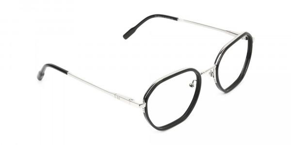 Wayfarer Black and Silver Geometric Glasses - 2