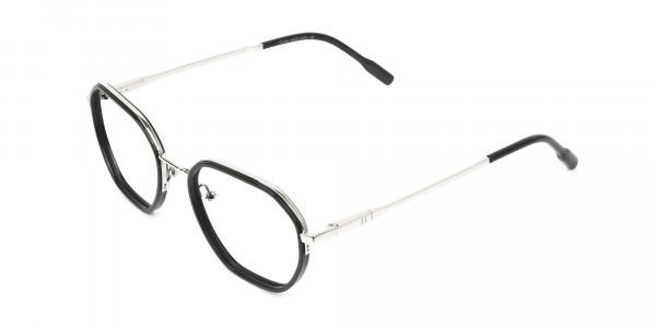 Wayfarer Black and Silver Geometric Glasses - 3