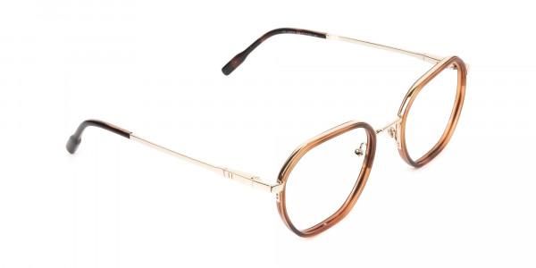 Wayfarer Brown Red Tortoise and Gold Geometric Glasses  - 2