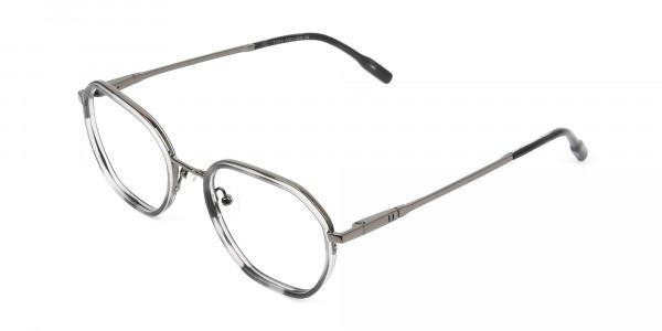 Gunmetal and Dusty Blue Geometric Glasses in Gunmetal  - 3