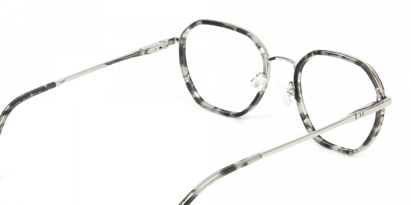 Black Grey Tortoise Geometric Glasses - 5