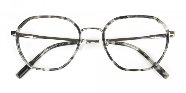 Black Grey Tortoise Geometric Glasses - 7