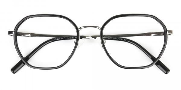 Wayfarer Black and Silver Geometric Glasses - 6