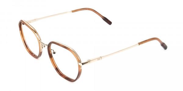 Wayfarer Brown Red Tortoise and Gold Geometric Glasses - 3