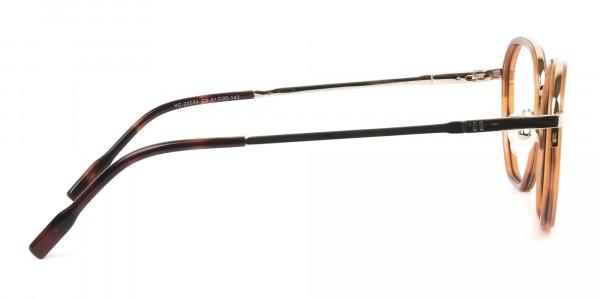 Wayfarer Brown Red Tortoise and Gold Geometric Glasses - 4