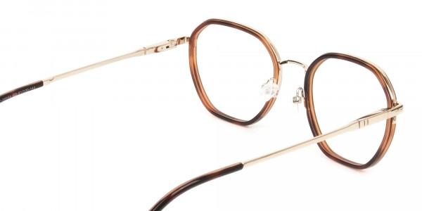 Wayfarer Brown Red Tortoise and Gold Geometric Glasses - 5