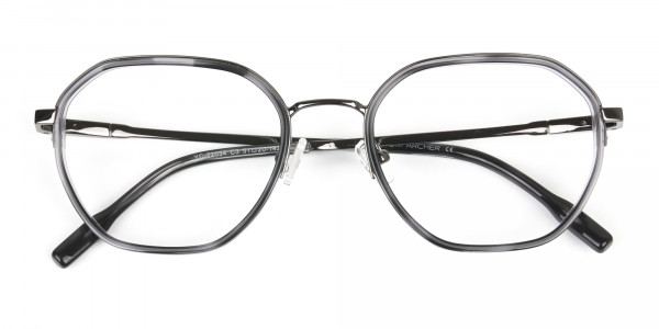 Gunmetal and Dusty Blue Geometric Glasses in Gunmetal - 7