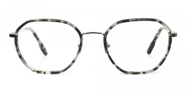Black Grey Tortoise Geometric Glasses - 1
