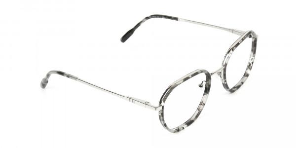 Black Grey Tortoise Geometric Glasses - 2
