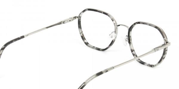 Black Grey Tortoise Geometric Glasses - 5