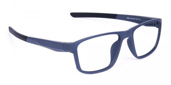 Matte Blue Rectangular Glasses For Golf - 2