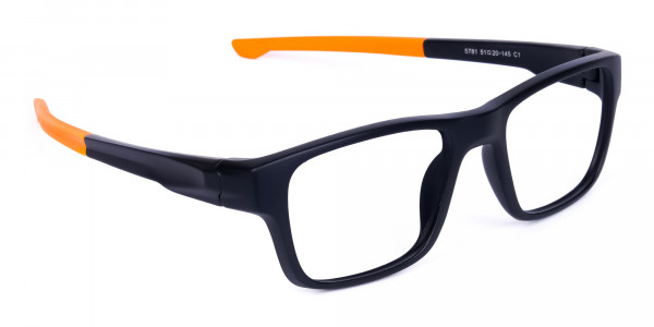 Orange and Black Rectangular Rim Cycling Glasses-2