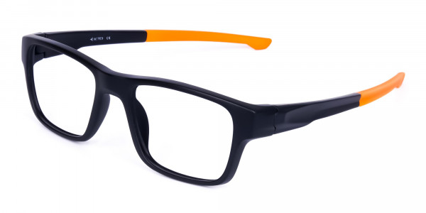 Orange and Black Rectangular Rim Cycling Glasses-3