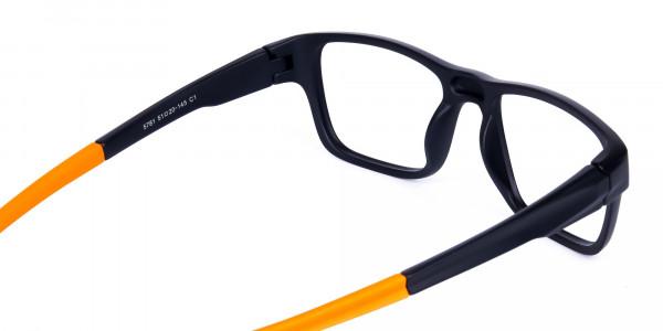 Orange and Black Rectangular Rim Cycling Glasses-5