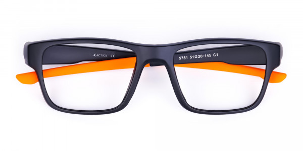 Orange and Black Rectangular Rim Cycling Glasses-6