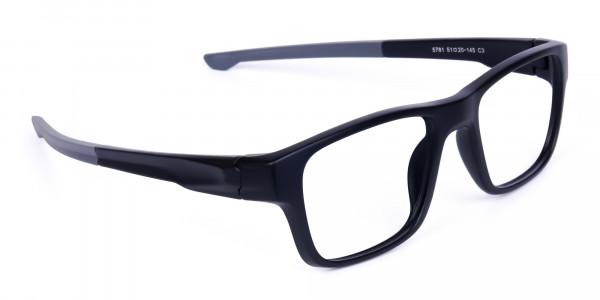 Rectangular Matte Black and Grey sports goggles-2