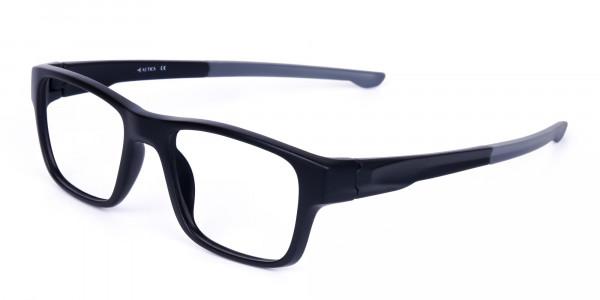 Rectangular Matte Black and Grey sports goggles-3