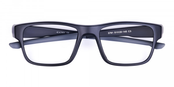 Rectangular Matte Black and Grey sports goggles-6