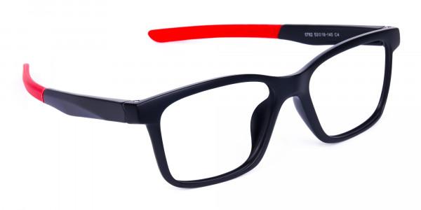 Red & Black Rectangular Rim Goggles For Biking-2