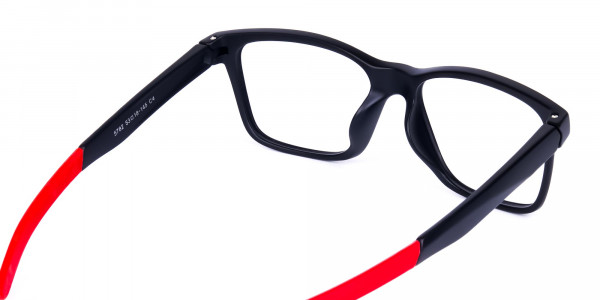 Red & Black Rectangular Rim Goggles For Biking-5
