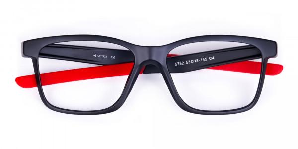 Red & Black Rectangular Rim Goggles For Biking-6