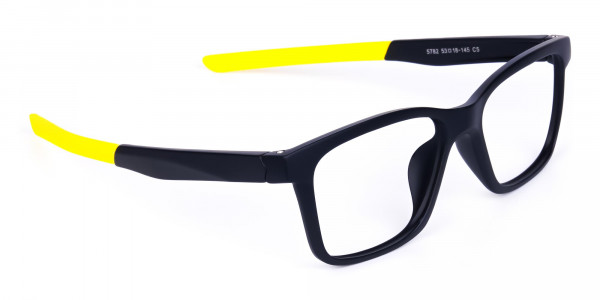 Black and Bright Yellow Cycling Glasses For Women In Rectangular Shape-3