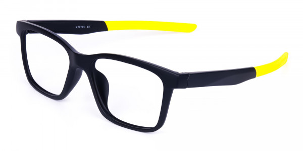 Black and Bright Yellow Cycling Glasses For Women In Rectangular Shape-2