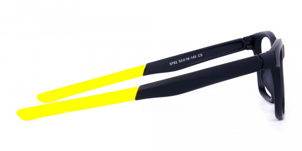 Black and Bright Yellow Cycling Glasses For Women In Rectangular Shape-4