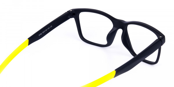 Black and Bright Yellow Cycling Glasses For Women In Rectangular Shape-5