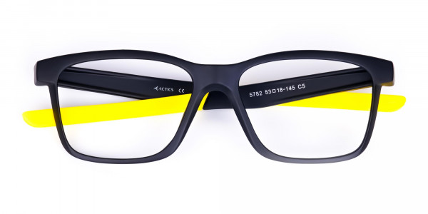 Black and Bright Yellow Cycling Glasses For Women In Rectangular Shape-6